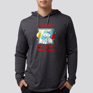 Peanuts Happy Birthday Red Perso Mens Hooded Shirt