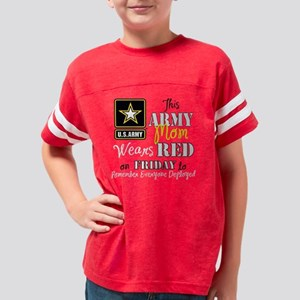 Army Mom Wears Red Youth Football Shirt
