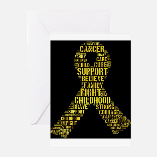 Childhood Cancer Word Shape Greeting Cards