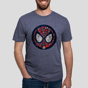 Spiderman Round Collage Mens Tri-blend T-Shirt