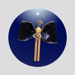 Blue Clothespin Angel Ornament (Round)