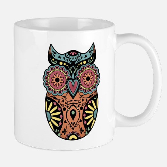 Sugar Skull Owl Color Coffee Mug