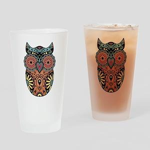 Sugar Skull Owl Color Drinking Glass