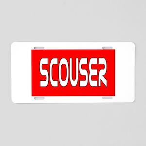 Scouser White/Red Aluminum License Plate