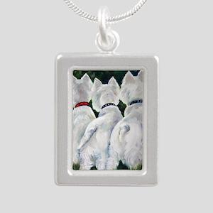 three Amigos Silver Portrait Necklace