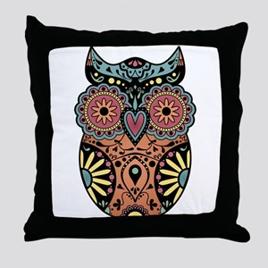 Sugar Skull Owl Color Throw Pillow