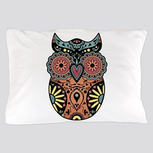 Sugar Skull Owl Color Pillow Case