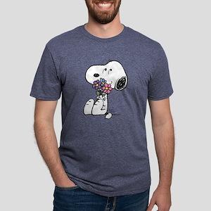 Snoopy - Flowers Mens Tri-blend T-Shirt
