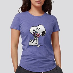 Snoopy - Flowers Womens Tri-blend T-Shirt