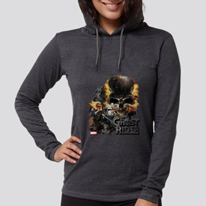 Ghost Rider Skull Womens Hooded Shirt