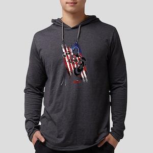 Captain America Flag Stripes Mens Hooded Shirt