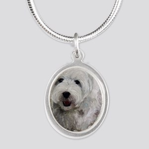 Guarding Snoopy Silver Oval Necklace