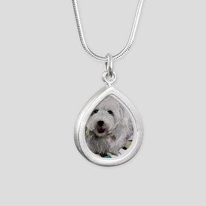 Guarding Snoopy Silver Teardrop Necklace