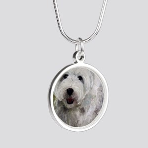 Guarding Snoopy Silver Round Necklace
