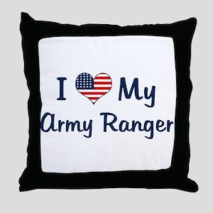 Army Ranger: Flag Love Throw Pillow