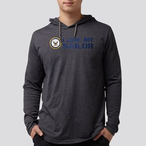 U.S. Navy: I Love My Sailor (Blu Mens Hooded Shirt