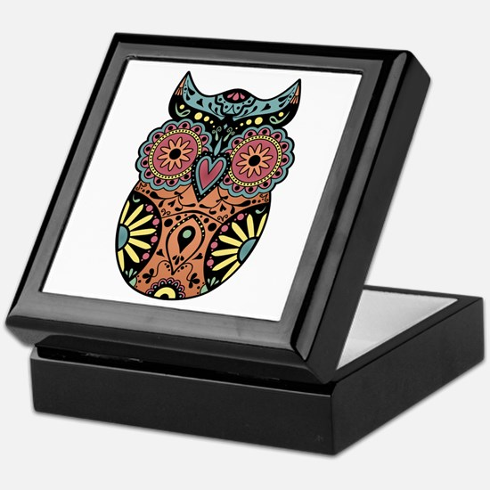 Sugar Skull Owl Color Keepsake Box