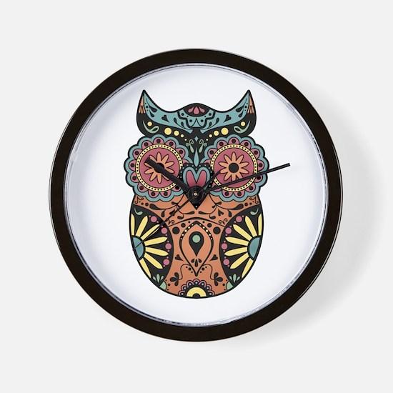 Sugar Skull Owl Color Wall Clock