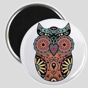 Sugar Skull Owl Color Magnet