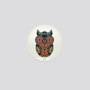 Sugar Skull Owl Color Mini Button
