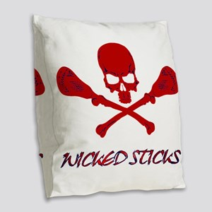Lacrosse Wicked Sticks Burlap Throw Pillow