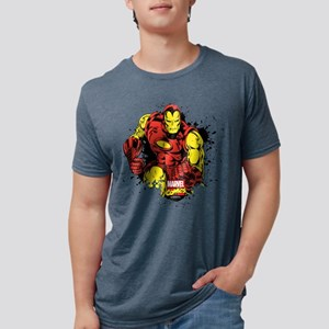 Iron Man Paint Splatter Mens Tri-blend T-Shirt