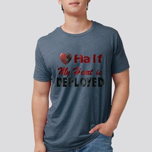 half my heart is deployed Mens Tri-blend T-Shirt