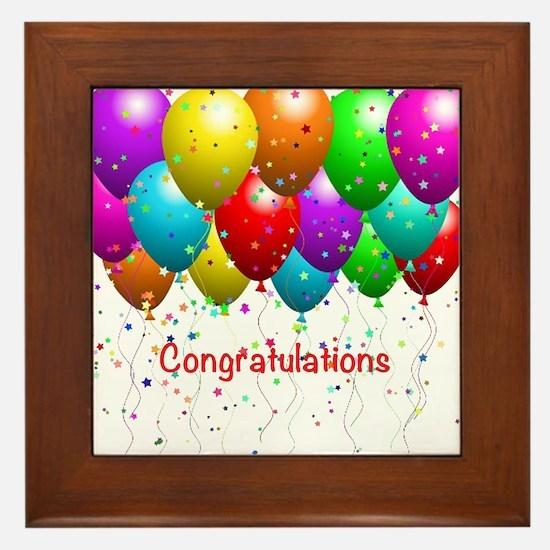 Congratulations Balloons Framed Tile