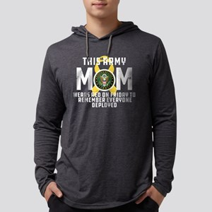 Army Mom Wears RED Mens Hooded Shirt