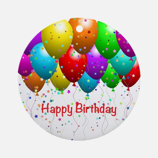 Happy Birthday Balloons Ornament (Round)