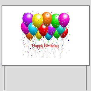 Happy Birthday Balloons Yard Sign