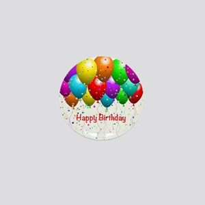 Happy Birthday Balloons Mini Button