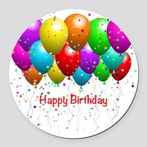 Happy Birthday Balloons Round Car Magnet