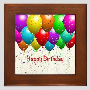 Happy Birthday Balloons Framed Tile