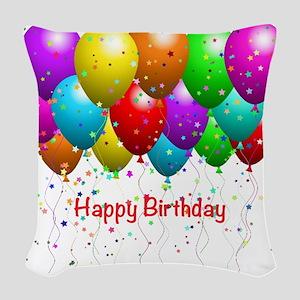 Happy Birthday Balloons Woven Throw Pillow