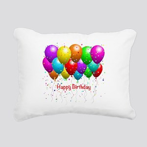 Happy Birthday Balloons Rectangular Canvas Pillow