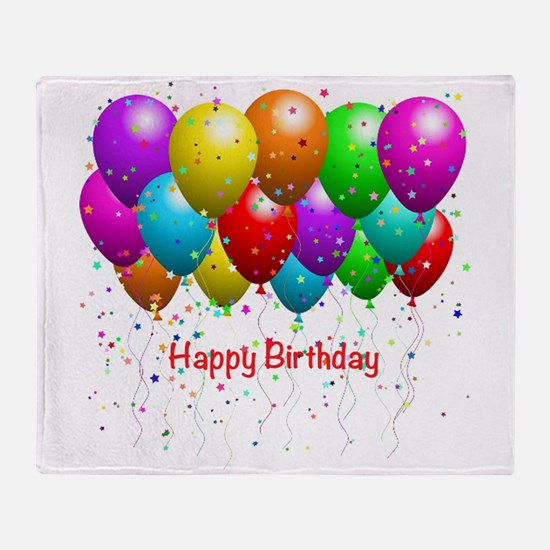 Happy Birthday Balloons Throw Blanket