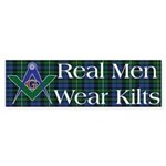 Masonic Real Men Wear Kilts Bumper Sticker