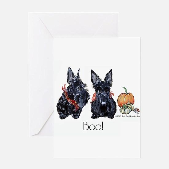 Halloween Scotties Greeting Card
