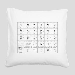 hebrew alphabet chart Square Canvas Pillow