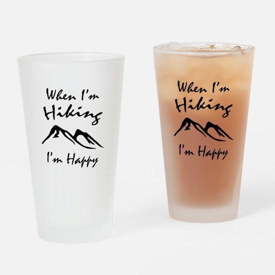 Hiking (Black) Drinking Glass