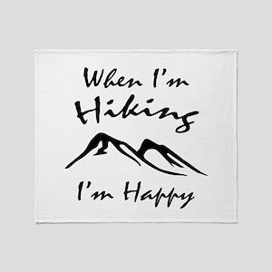 Hiking (Black) Throw Blanket