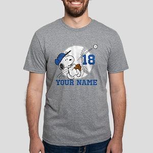 Snoopy Baseball Personalize Mens Tri-blend T-Shirt