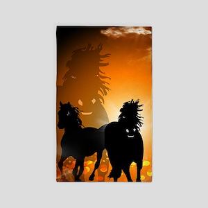 Horses, 3'x5' Area Rug