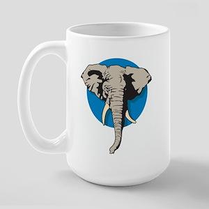 Elephant Blue Right-handed Large Mug
