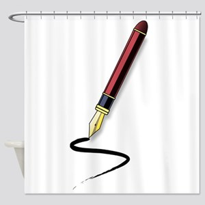 Fountain Pen Writing Shower Curtain