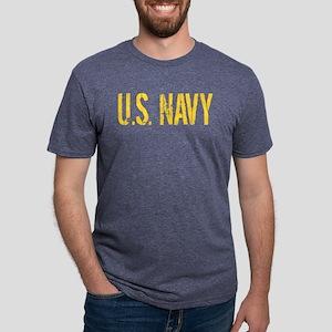 U.S. Navy: Gold Stencil Mens Tri-blend T-Shirt