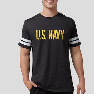 U.S. Navy: Gold Stencil Mens Football Shirt