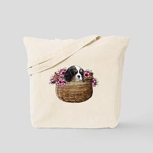 Cavalier King Charles Spaniel in a Basket Tote Bag