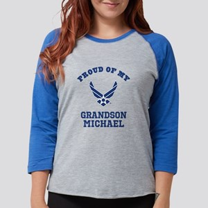Air Force Grandson Personalize Womens Baseball Tee